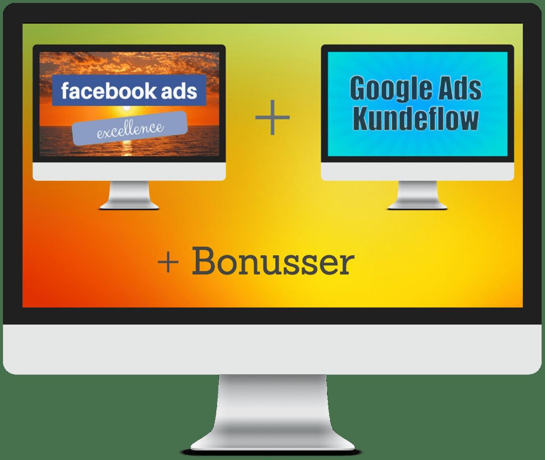 Google Ads Kundeflow 6-ugers onlineforløb + Facebook Ads Excellence onlinekursus + bonuspakke